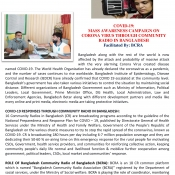 COVID-19: MASS AWARENESS CAMPAIGN ON CORONA VIRUS THROUGH COMMUNITY RADIO IN BANGLADESH Facilitated By: BCRA